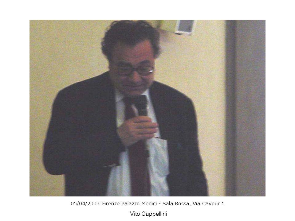 05/04/2003 Firenze Palazzo Medici - Sala Rossa, Via Cavour 1 Vito Cappellini