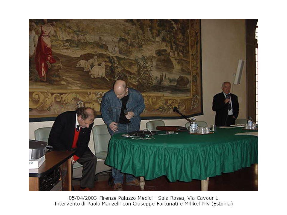 05/04/2003 Firenze Palazzo Medici - Sala Rossa, Via Cavour 1 Intervento di Paolo Manzelli con Giuseppe Fortunati e Mihkel Pilv (Estonia)
