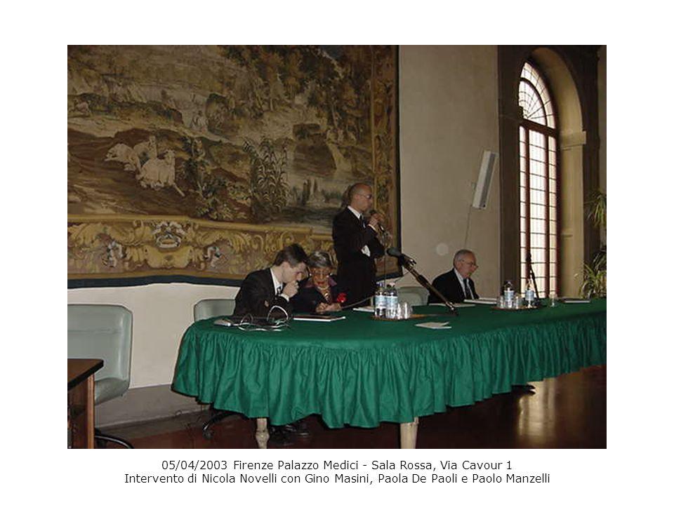 05/04/2003 Firenze Palazzo Medici - Sala Rossa, Via Cavour 1 Intervento di Nicola Novelli con Gino Masini, Paola De Paoli e Paolo Manzelli
