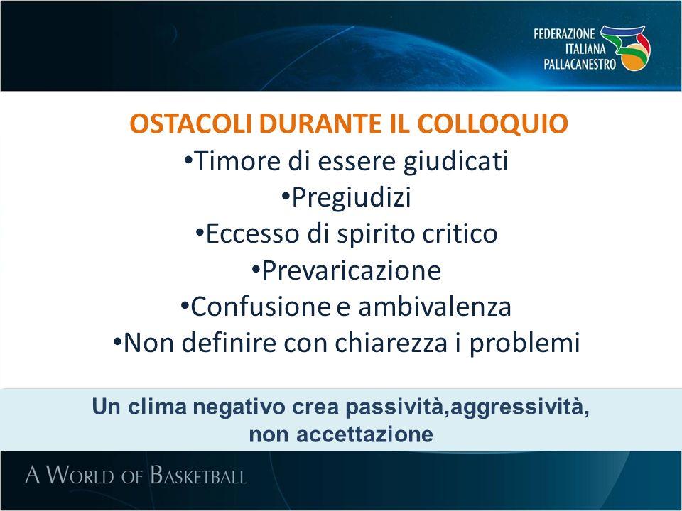OSTACOLI DURANTE IL COLLOQUIO