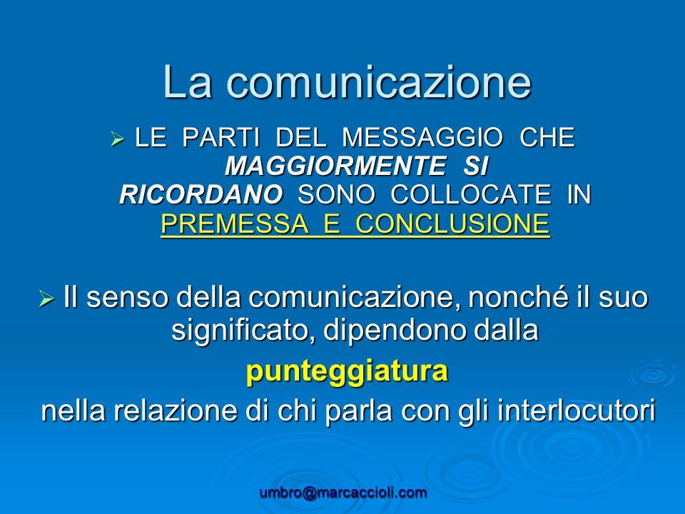La comunicazione LE PARTI DEL MESSAGGIO CHE MAGGIORMENTE SI RICORDANO SONO COLLOCATE IN PREMESSA E CONCLUSIONE.