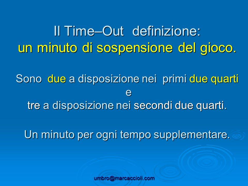 Il Time–Out definizione: un minuto di sospensione del gioco