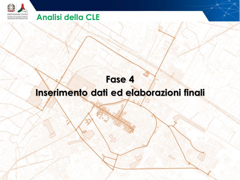 Fase 4 Inserimento dati ed elaborazioni finali