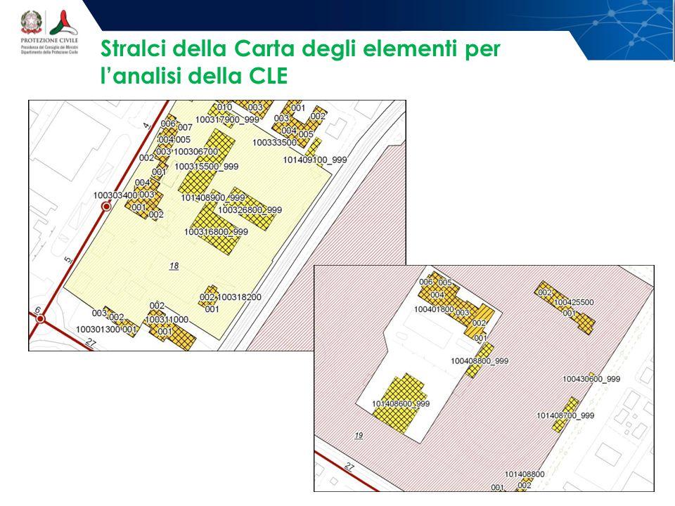 Stralci della Carta degli elementi per l'analisi della CLE