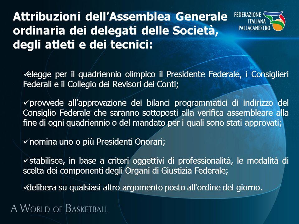 Attribuzioni dell'Assemblea Generale ordinaria dei delegati delle Società, degli atleti e dei tecnici: