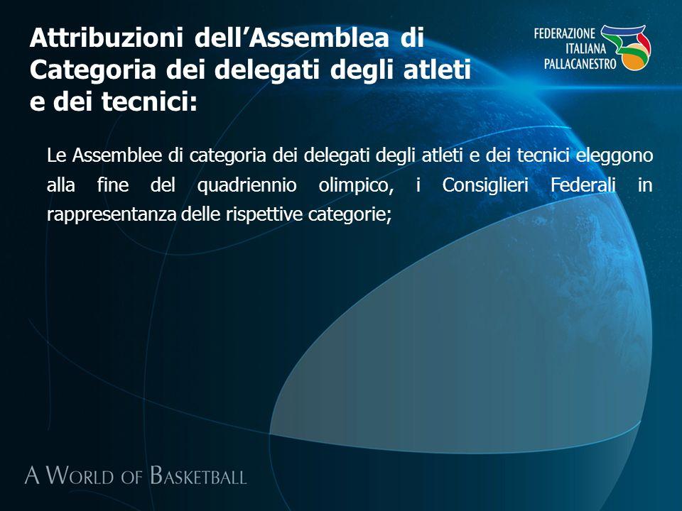 Attribuzioni dell'Assemblea di Categoria dei delegati degli atleti e dei tecnici: