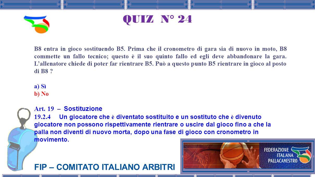 QUIZ N° 24 Art. 19 – Sostituzione