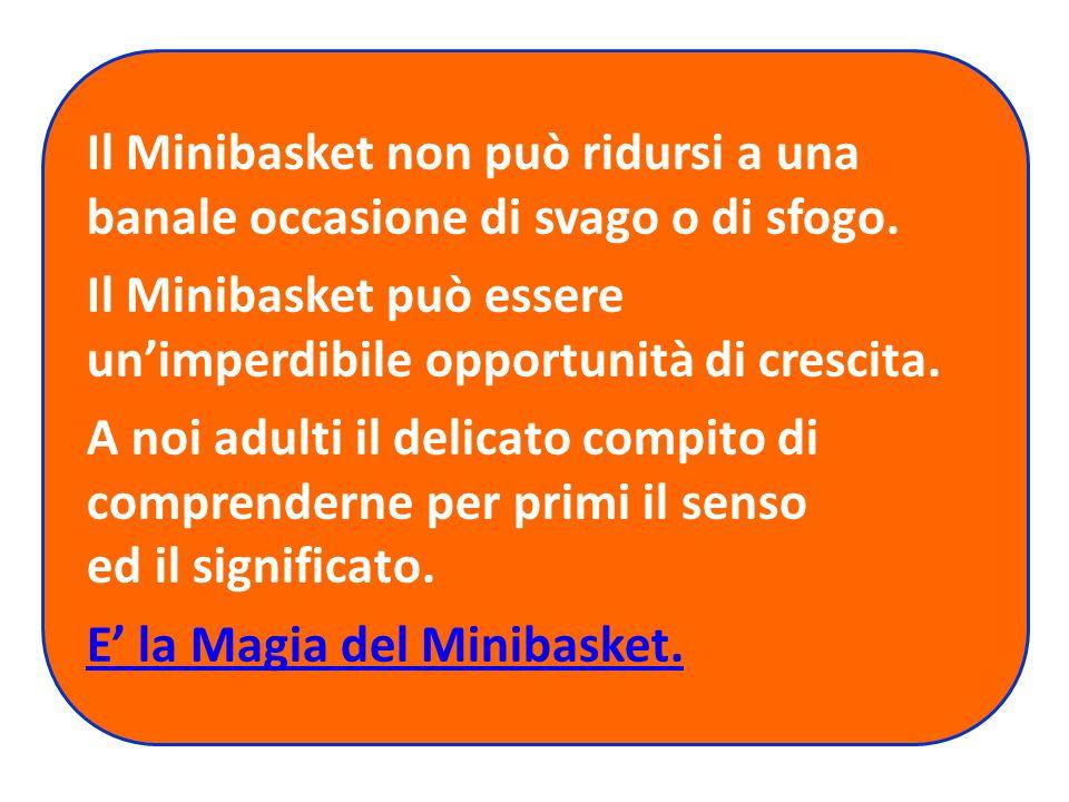 Il Minibasket non può ridursi a una banale occasione di svago o di sfogo.