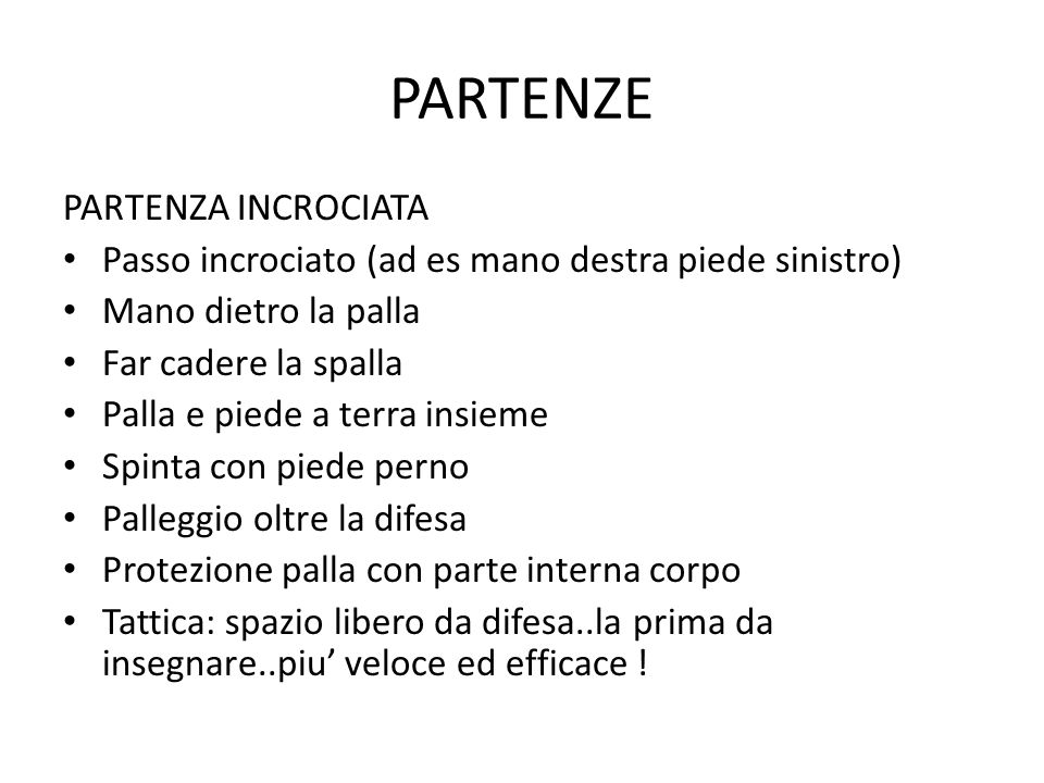 PARTENZE PARTENZA INCROCIATA