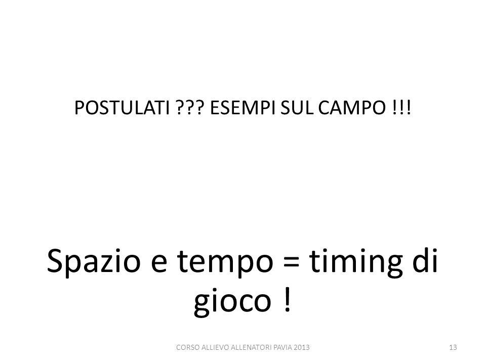Spazio e tempo = timing di gioco !
