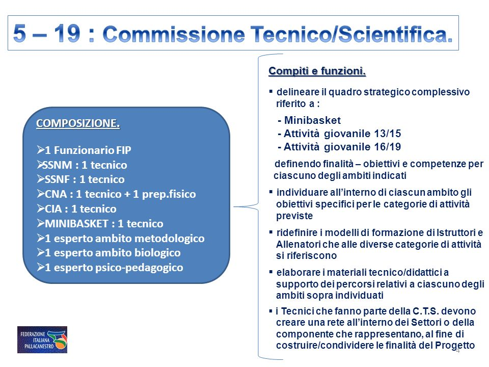 5 – 19 : Commissione Tecnico/Scientifica.