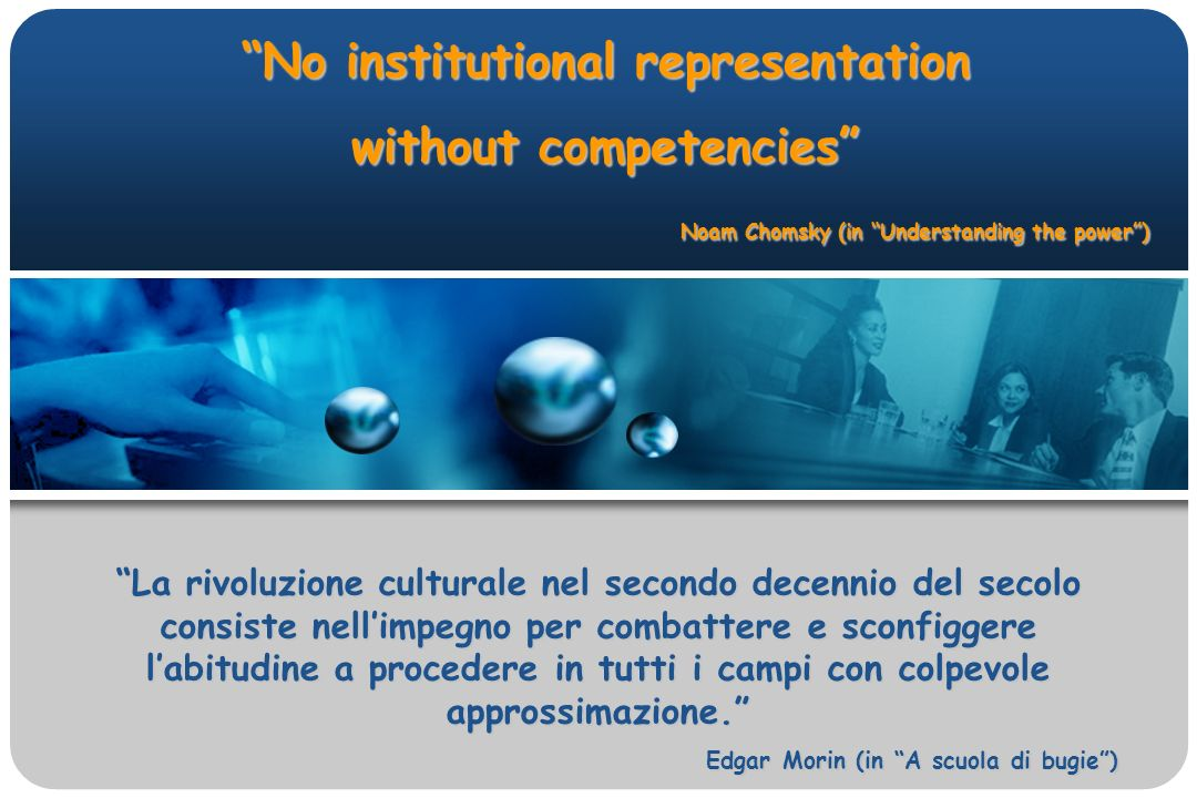 No institutional representation without competencies