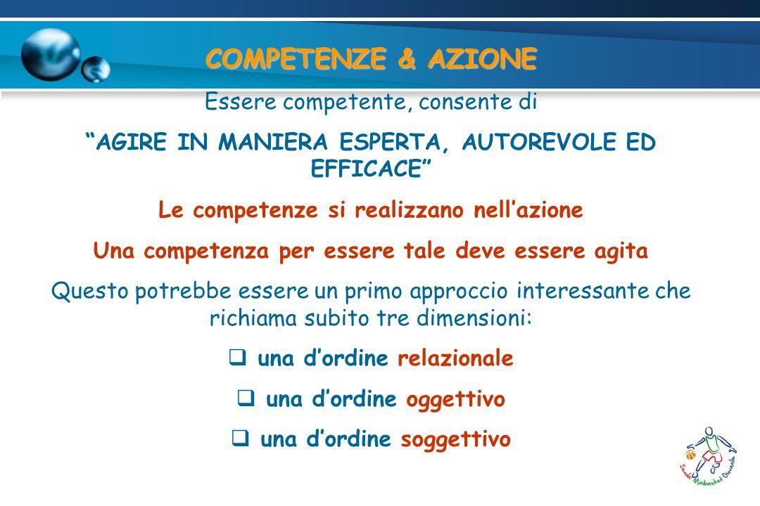 COMPETENZE & AZIONE Essere competente, consente di