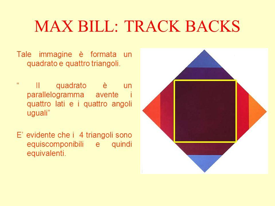MAX BILL: TRACK BACKS Tale immagine è formata un quadrato e quattro triangoli.