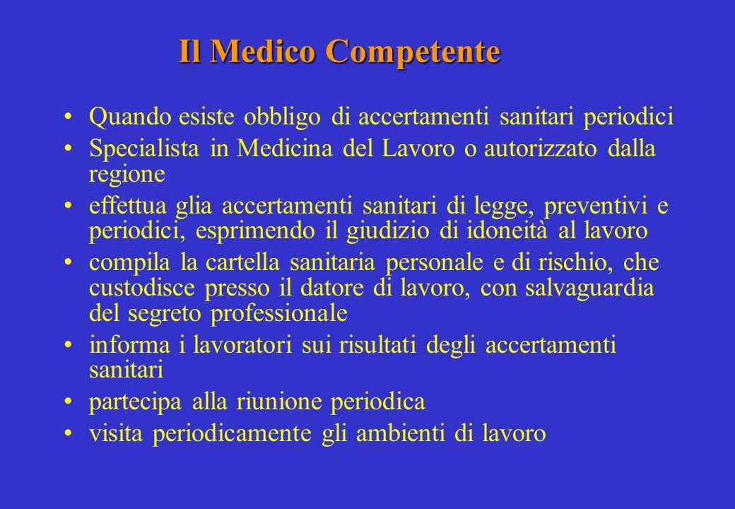 Il Medico Competente Quando esiste obbligo di accertamenti sanitari periodici. Specialista in Medicina del Lavoro o autorizzato dalla regione.