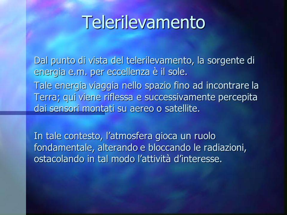 Telerilevamento Dal punto di vista del telerilevamento, la sorgente di energia e.m. per eccellenza è il sole.