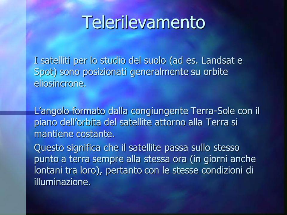 Telerilevamento I satelliti per lo studio del suolo (ad es. Landsat e Spot) sono posizionati generalmente su orbite eliosincrone.