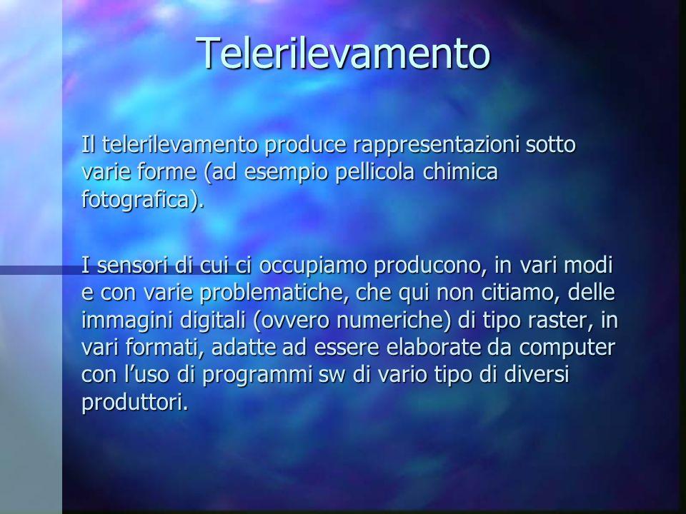 Telerilevamento Il telerilevamento produce rappresentazioni sotto varie forme (ad esempio pellicola chimica fotografica).