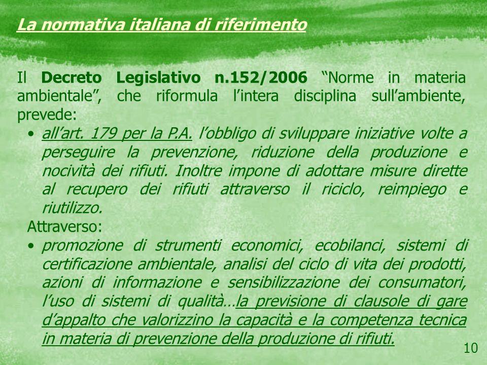 La normativa italiana di riferimento