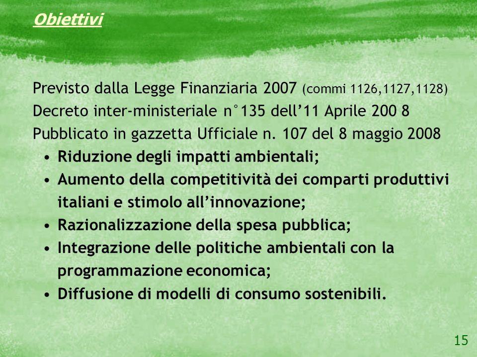 Obiettivi Previsto dalla Legge Finanziaria 2007 (commi 1126,1127,1128) Decreto inter-ministeriale n°135 dell'11 Aprile 200 8.