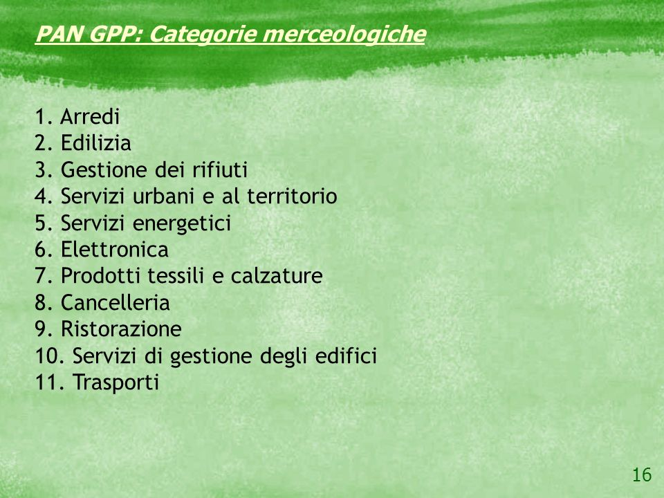 PAN GPP: Categorie merceologiche