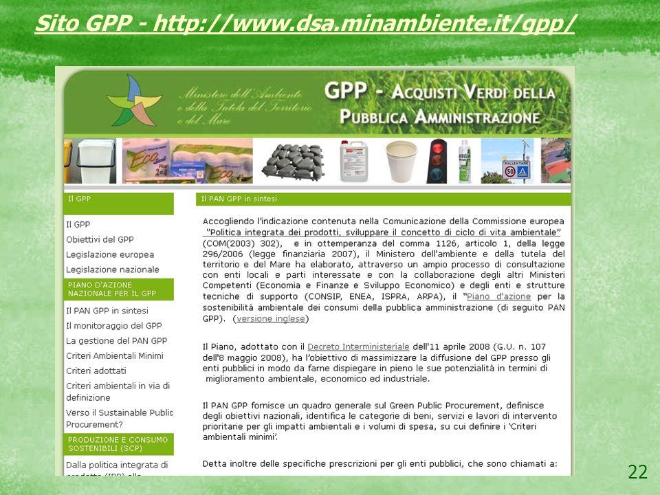 Sito GPP - http://www.dsa.minambiente.it/gpp/
