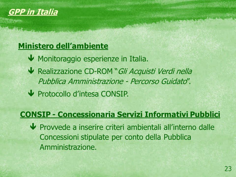 GPP in Italia Ministero dell'ambiente