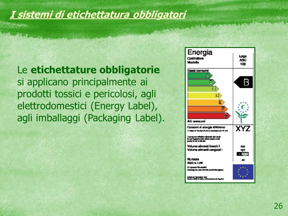 I sistemi di etichettatura obbligatori