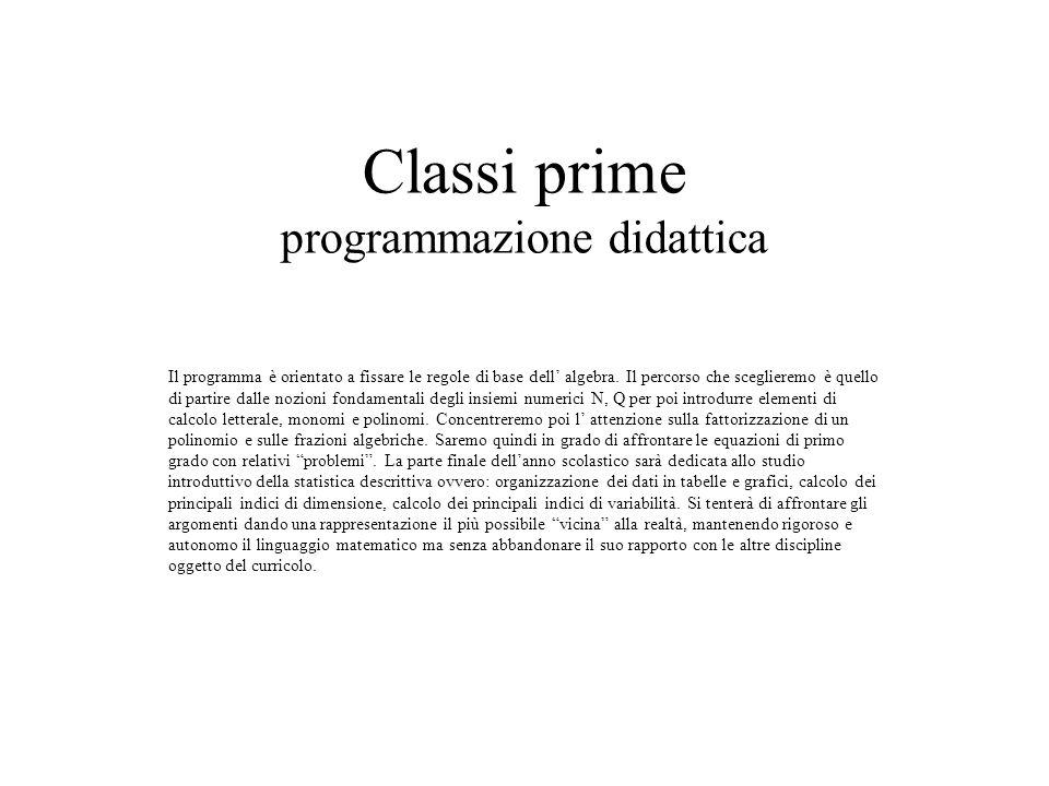 Classi prime programmazione didattica
