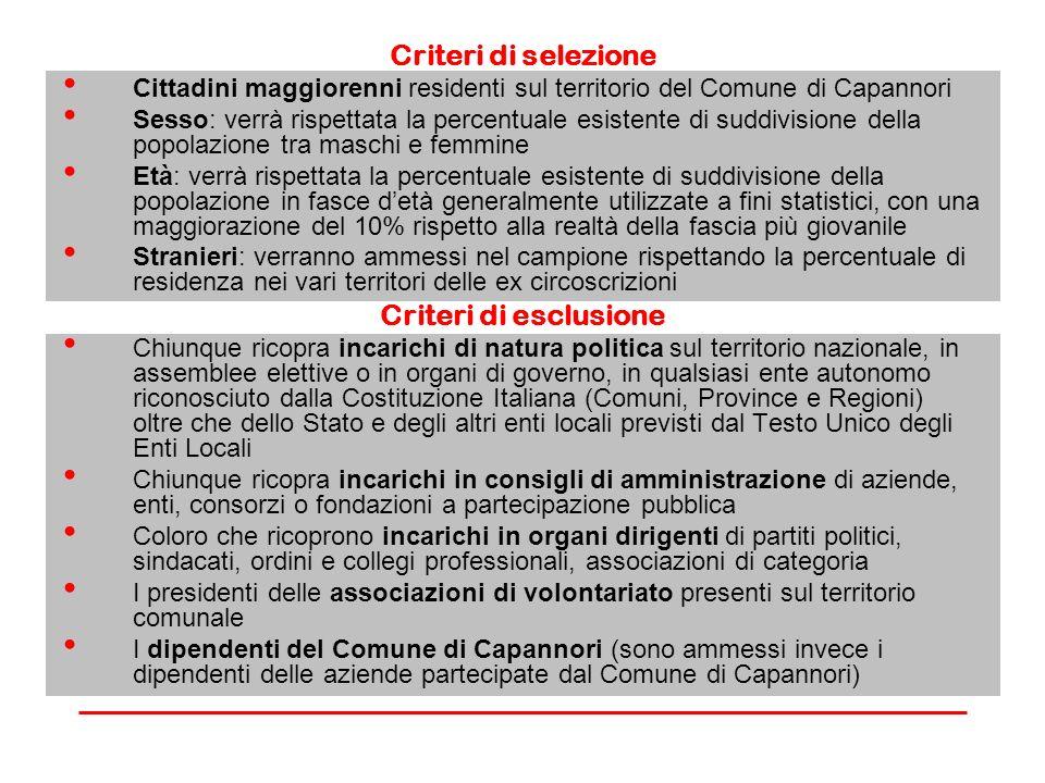 Criteri di selezione Criteri di esclusione