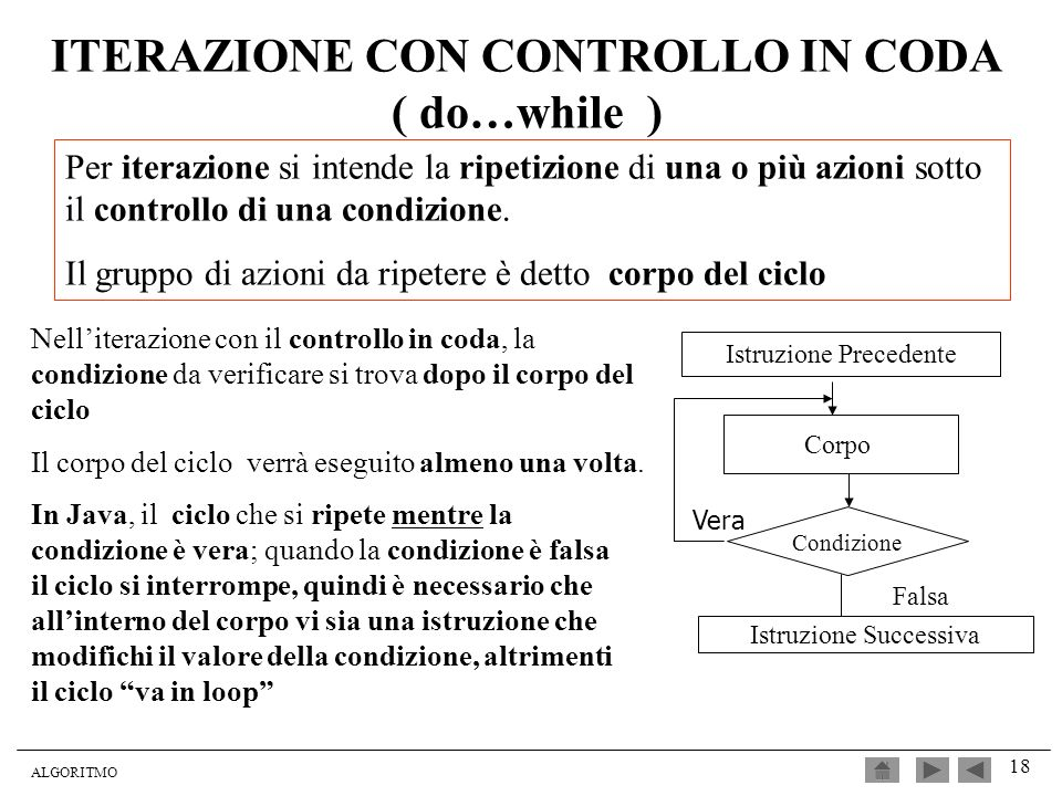 ITERAZIONE CON CONTROLLO IN CODA ( do…while )