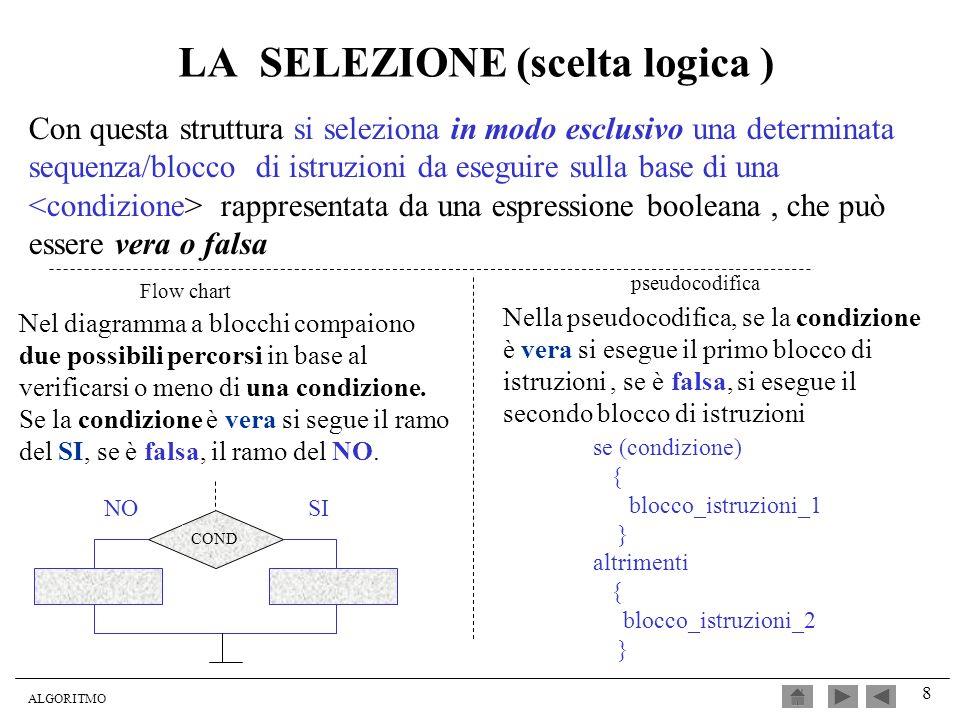 LA SELEZIONE (scelta logica )