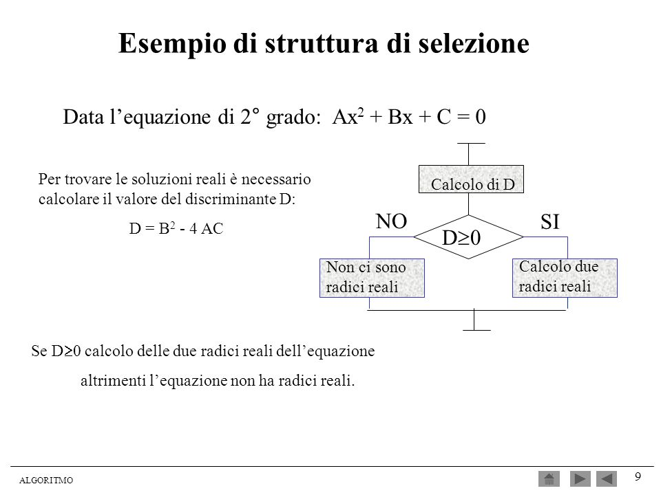 Esempio di struttura di selezione