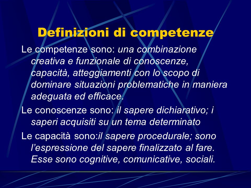 Definizioni di competenze