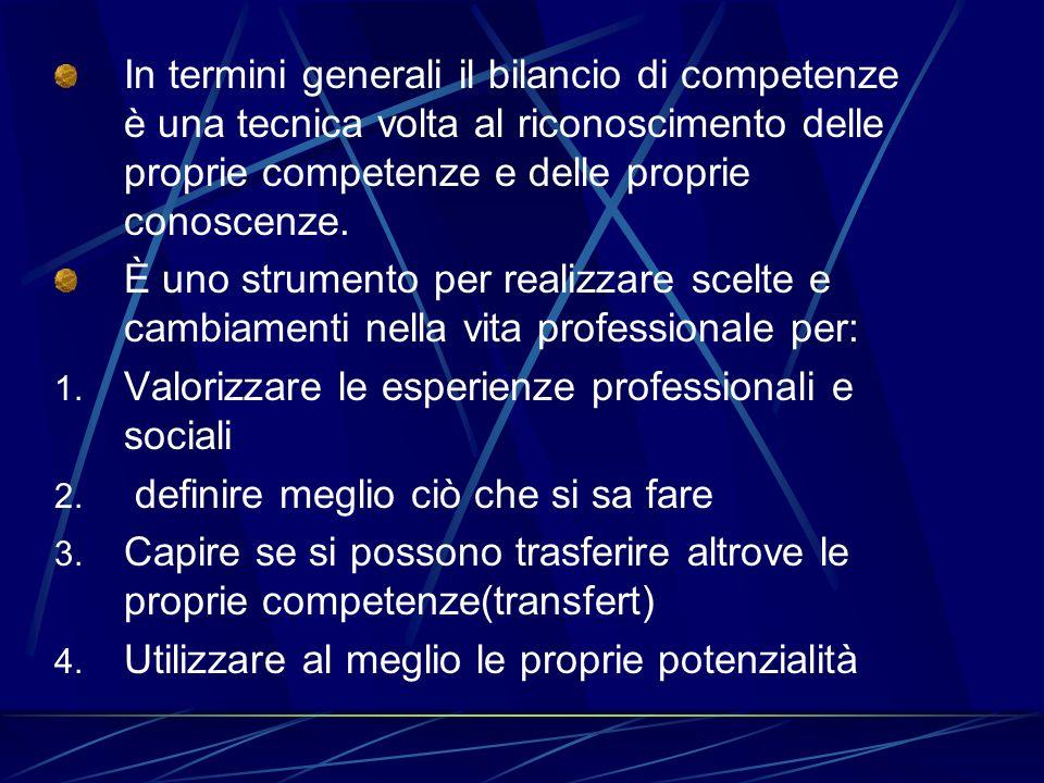 In termini generali il bilancio di competenze è una tecnica volta al riconoscimento delle proprie competenze e delle proprie conoscenze.