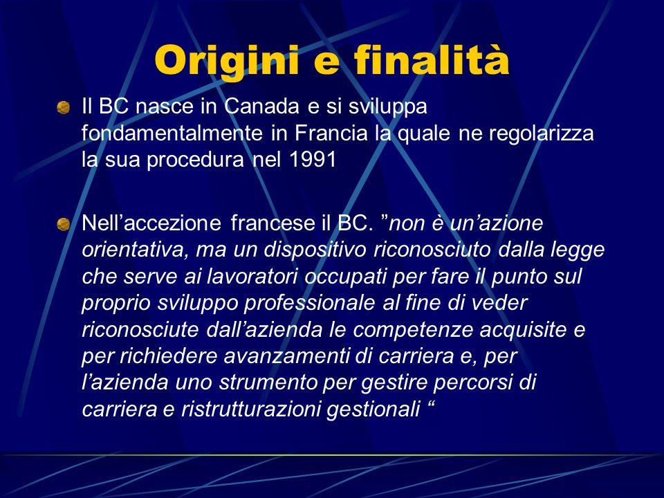 Origini e finalità Il BC nasce in Canada e si sviluppa fondamentalmente in Francia la quale ne regolarizza la sua procedura nel 1991.