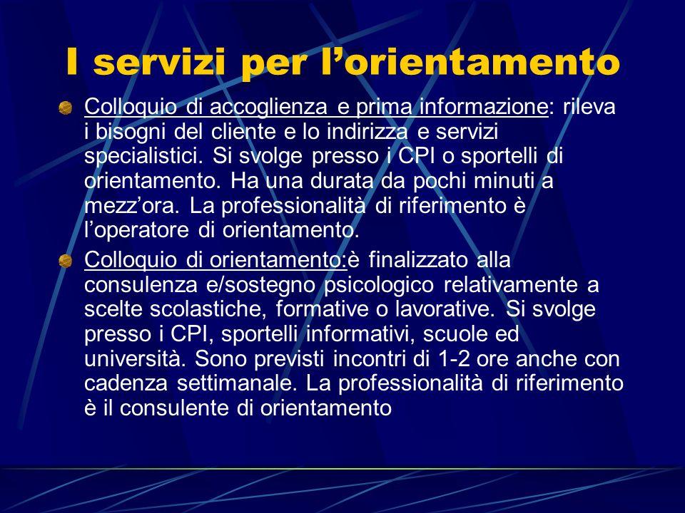 I servizi per l'orientamento