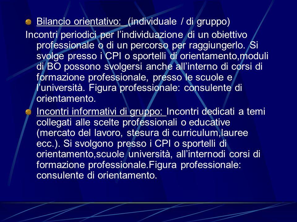 Bilancio orientativo: (individuale / di gruppo)