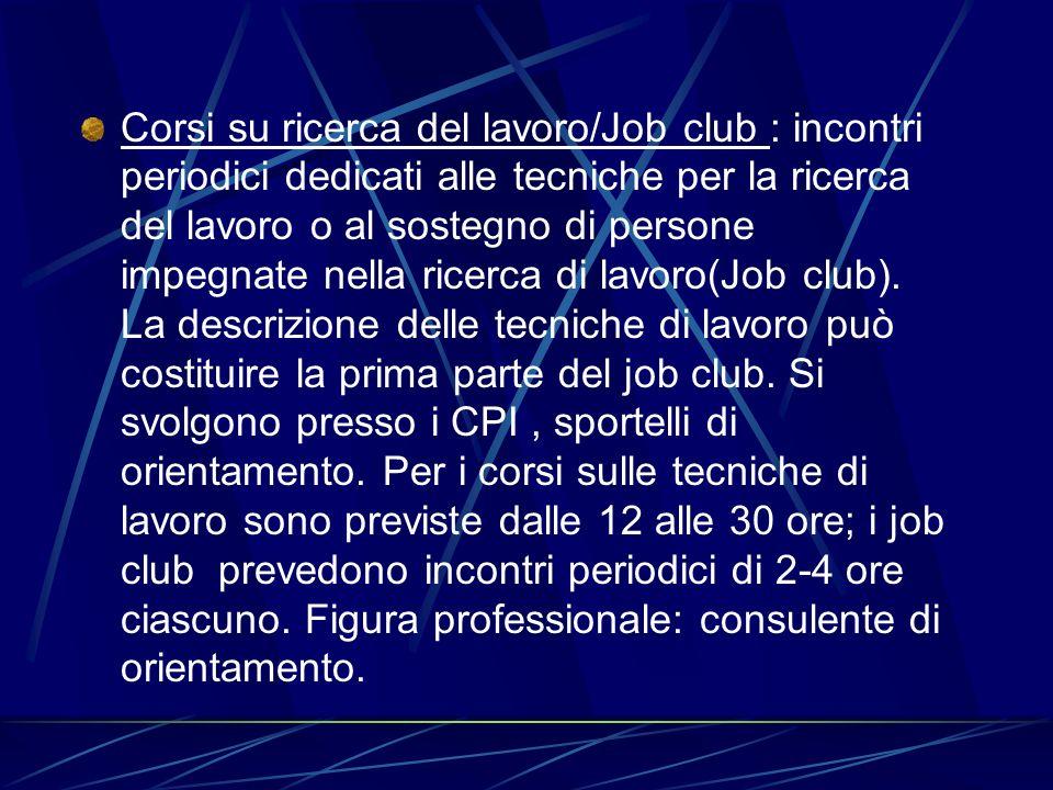 Corsi su ricerca del lavoro/Job club : incontri periodici dedicati alle tecniche per la ricerca del lavoro o al sostegno di persone impegnate nella ricerca di lavoro(Job club).