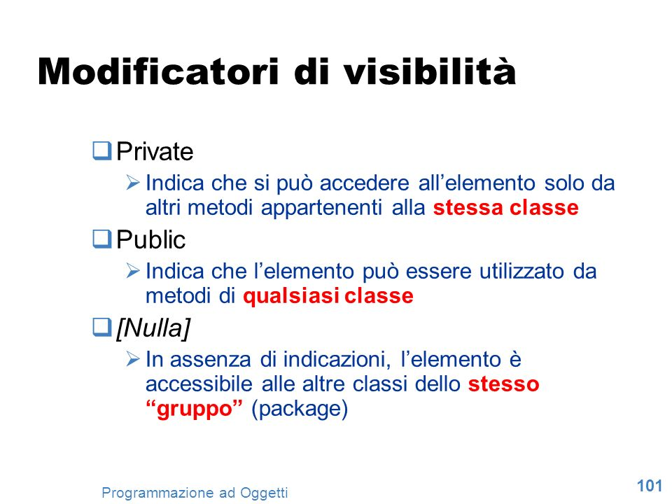 Modificatori di visibilità