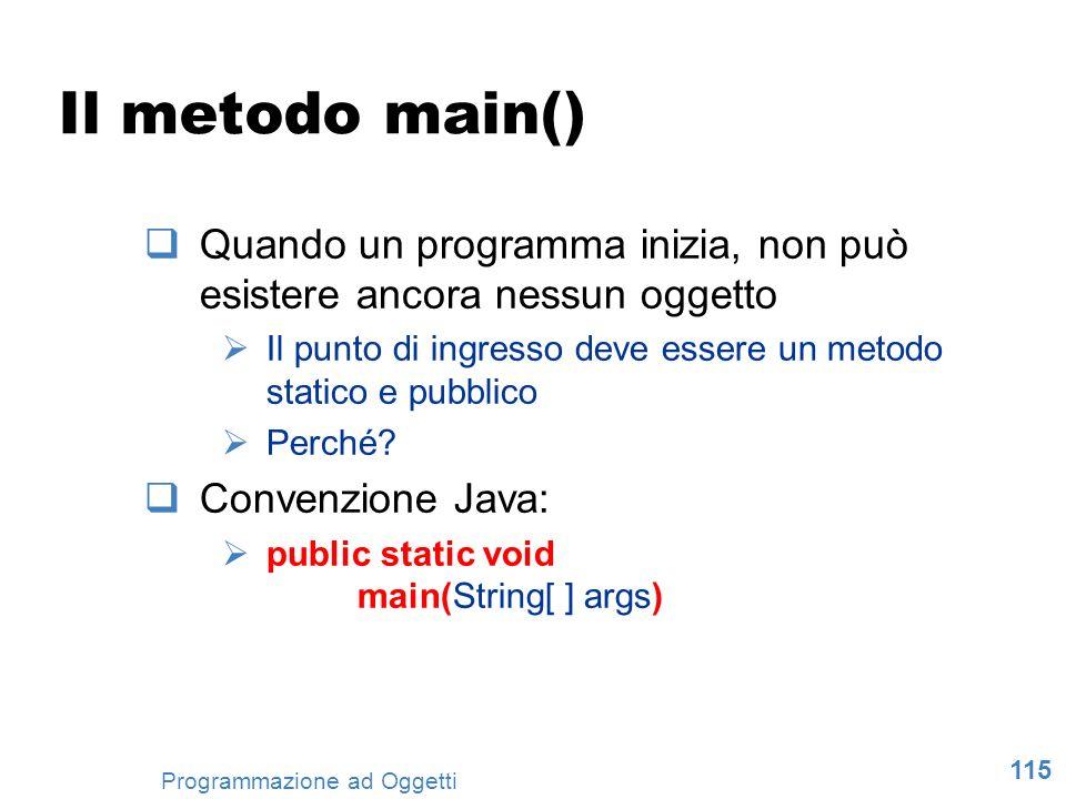 Il metodo main() Quando un programma inizia, non può esistere ancora nessun oggetto. Il punto di ingresso deve essere un metodo statico e pubblico.