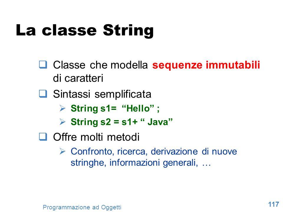 La classe String Classe che modella sequenze immutabili di caratteri