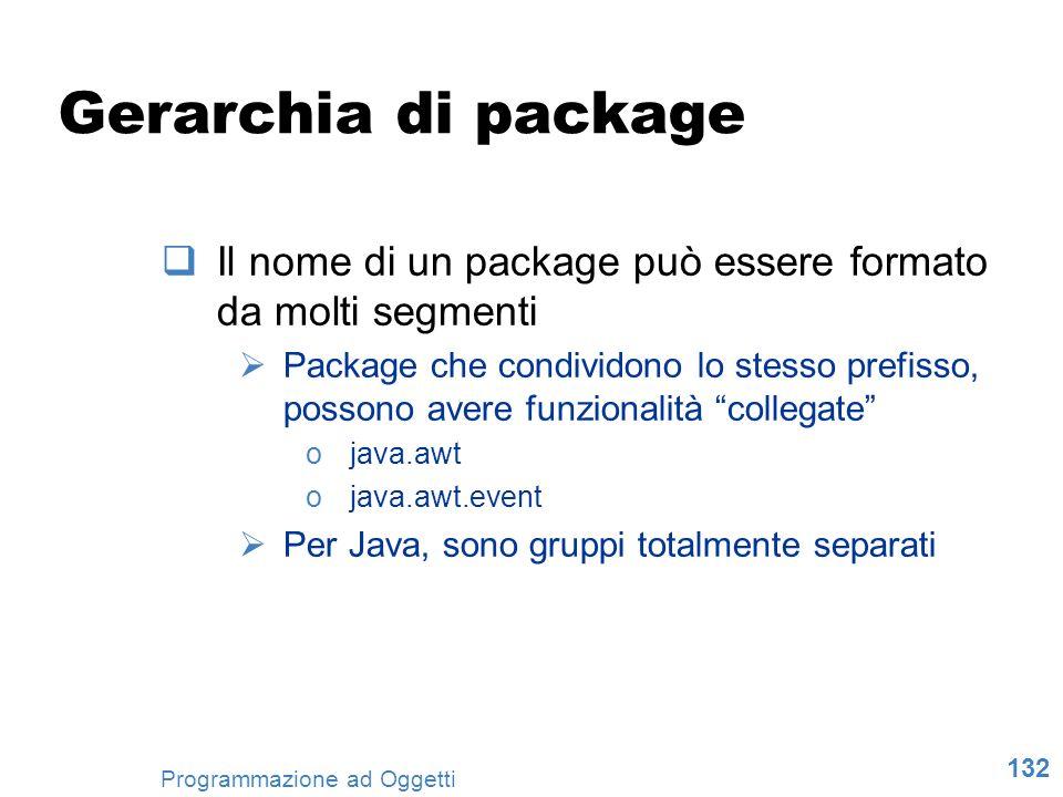 Gerarchia di package Il nome di un package può essere formato da molti segmenti.