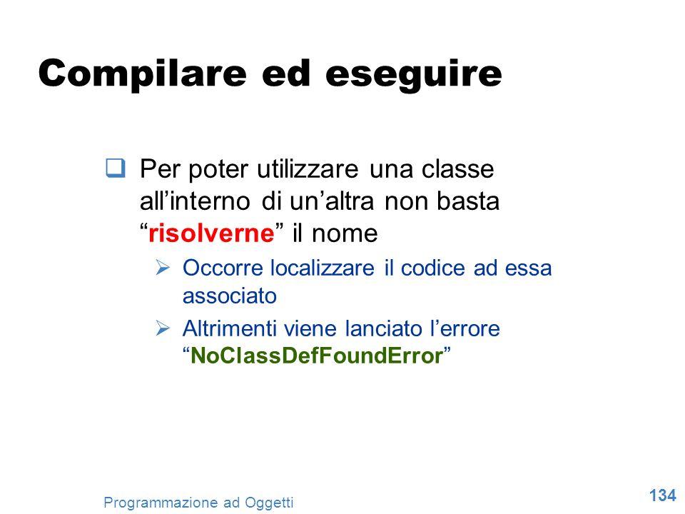 Compilare ed eseguire Per poter utilizzare una classe all'interno di un'altra non basta risolverne il nome.