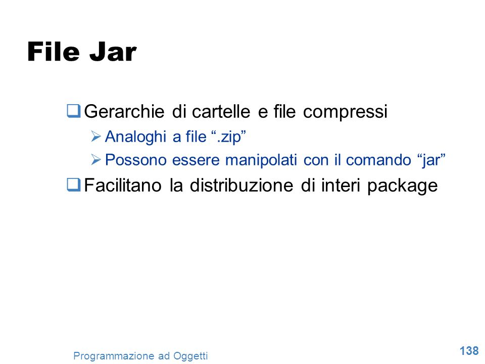 File Jar Gerarchie di cartelle e file compressi