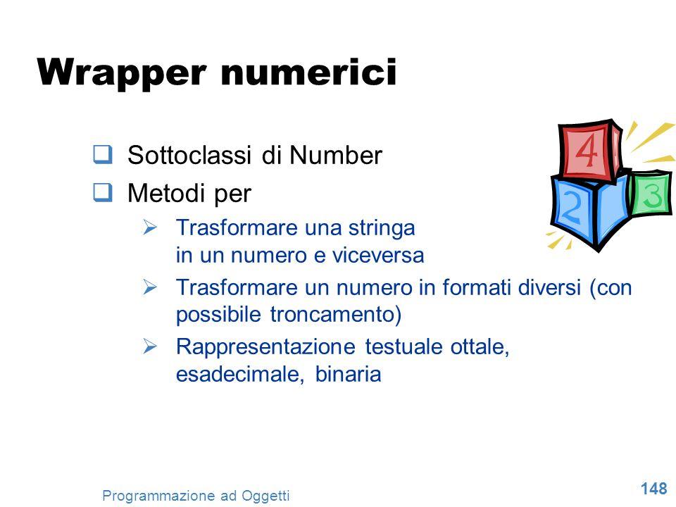 Wrapper numerici Sottoclassi di Number Metodi per