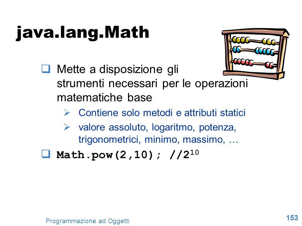 java.lang.Math Mette a disposizione gli strumenti necessari per le operazioni matematiche base. Contiene solo metodi e attributi statici.