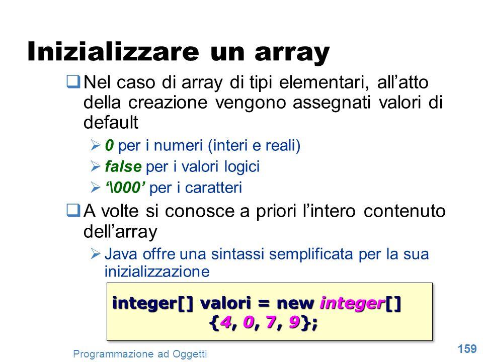 Inizializzare un array