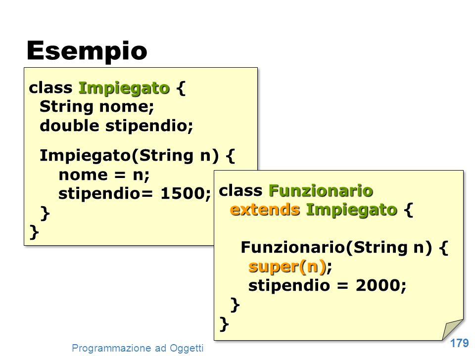 Esempio class Impiegato { String nome; double stipendio;
