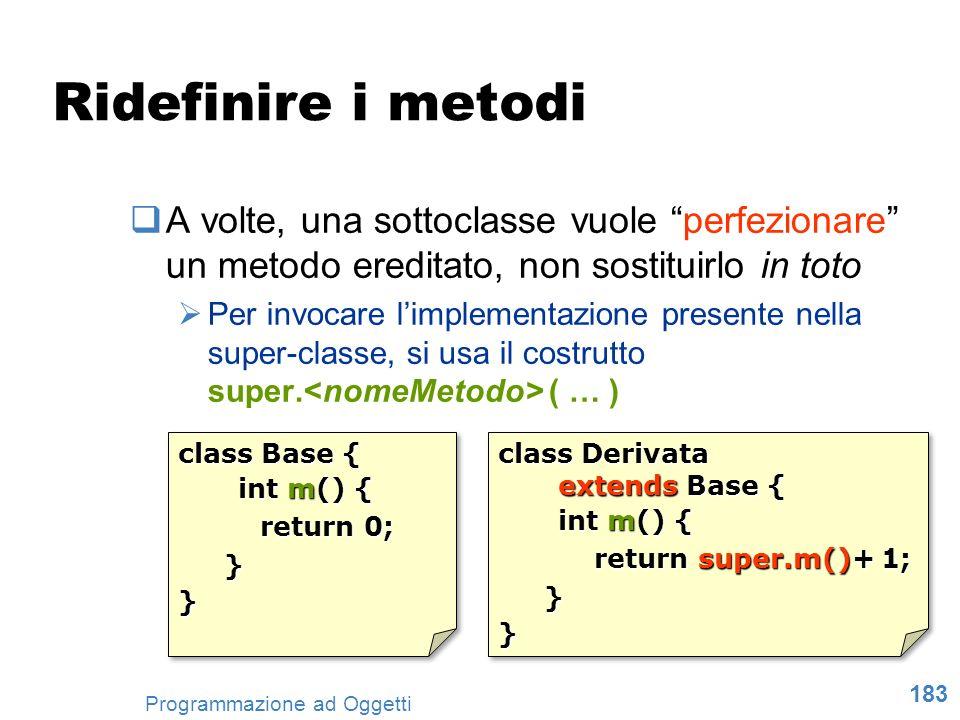 Ridefinire i metodi A volte, una sottoclasse vuole perfezionare un metodo ereditato, non sostituirlo in toto.